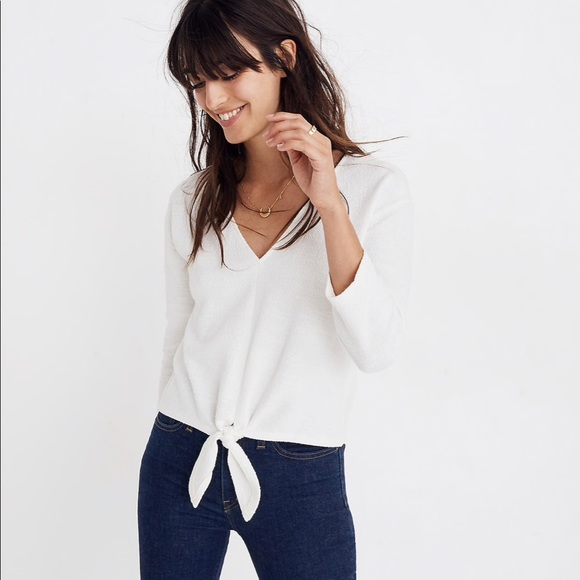 8a826ecaab852 Madewell Tops - Madewell Textured Tie-Front Top